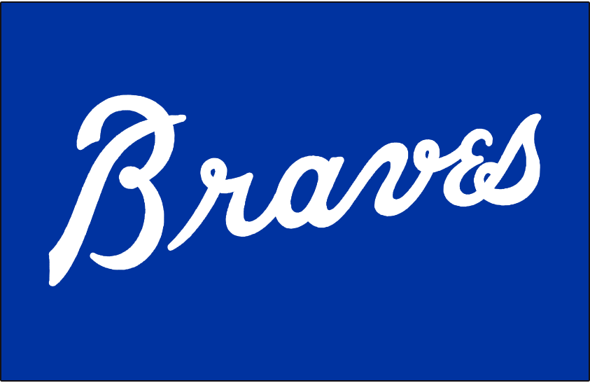 Atlanta Braves Logo Batting Practice Logo (1981-1986) - Braves in white on blue, worn on the Atlanta Braves batting practice jersey from 1981 through 1986. Also worn briefly in Spring Training 1987 as team transitioned to new branding for 1987 season. SportsLogos.Net