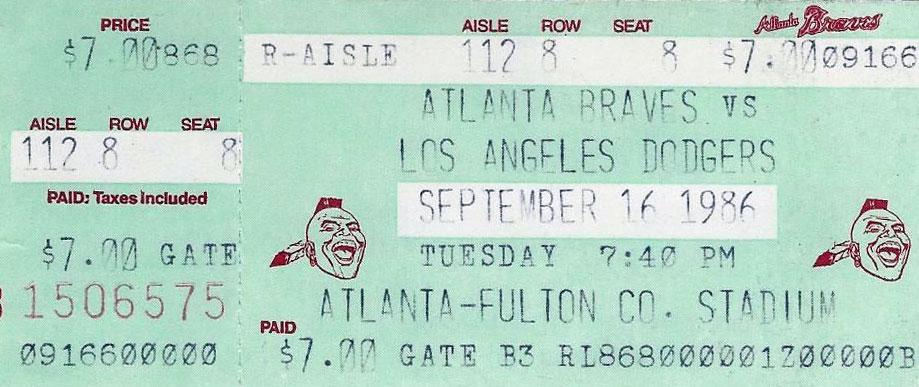 Atlanta Braves Ticket Stub Ticket Stub (1986) -  SportsLogos.Net
