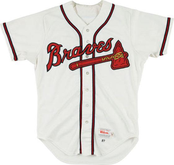 Atlanta Braves Game-Worn Jersey Photo Jersey Photo (1987-Pres) - Game-worn Atlanta Braves home jersey, style used beginning in 1987 SportsLogos.Net