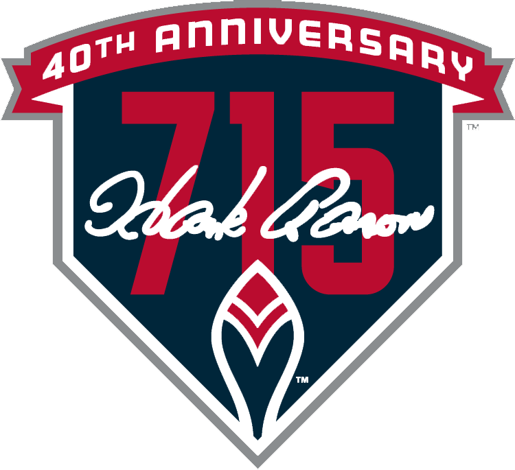 Atlanta Braves Logo Misc Logo (2014) - Hank Aaron 715th home run 40th anniversary patch - worn on the sleeves of every Atlanta Braves jersey for the 2014 season. Logo shows a home plate shape in navy blue with 715 on it in red and a Hank Aaron signature in white. Braves old feather logo, worn on the sleeve of their jersey during the 1974 season, depicted at the bottom of the home plate graphic. SportsLogos.Net