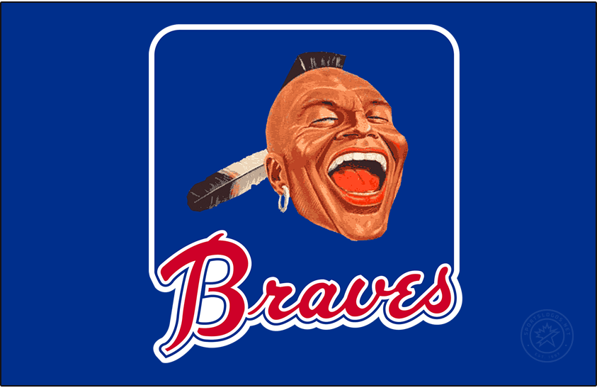 Atlanta Braves Logo Primary Dark Logo (1966-1967) - For their first two seasons in Atlanta, the Braves used this blue rounded square with a photo of a Native American head with a mohawk and feather above the scripted Braves in red as their primary logo. SportsLogos.Net