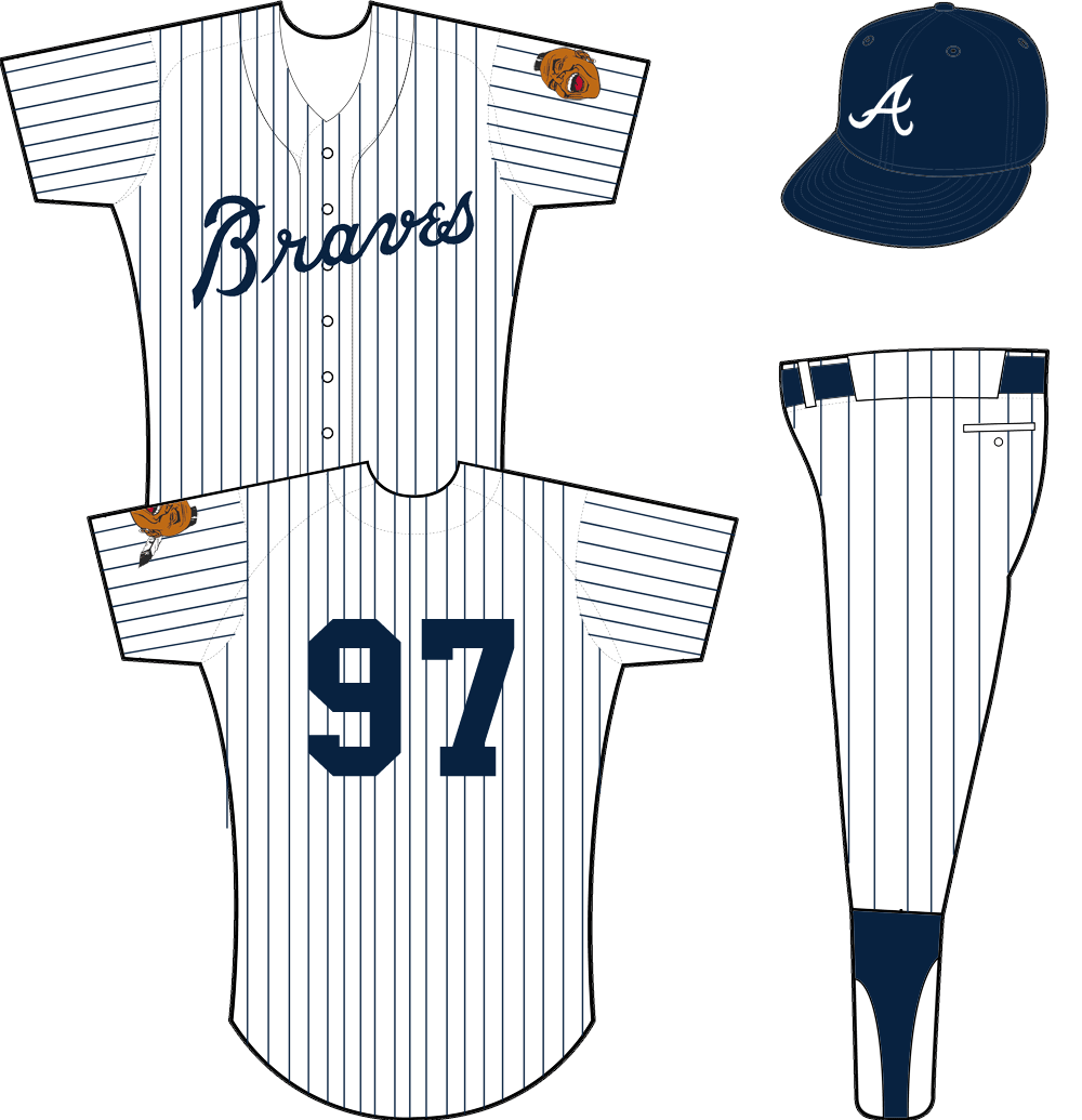 Atlanta Braves Uniform Home Uniform (1970-1971) - White uniform with blue pinstripes, Braves across the front in blue. Jersey remains the same as 1968-69 version but now worn with an all blue cap from 1970 to 1971. SportsLogos.Net