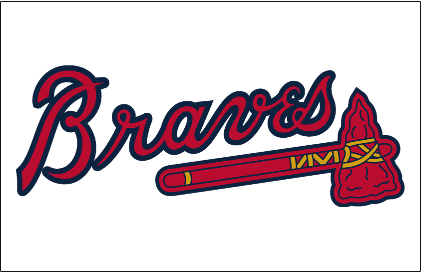Atlanta Braves Logo Jersey Logo (2018-Pres) - 'Braves' in scarlet with a navy outline above a scarlet tomahawk on white, worn on the front of the Atlanta Braves home jersey from 1987 to present day, shade of blue darkened after 2017 season SportsLogos.Net