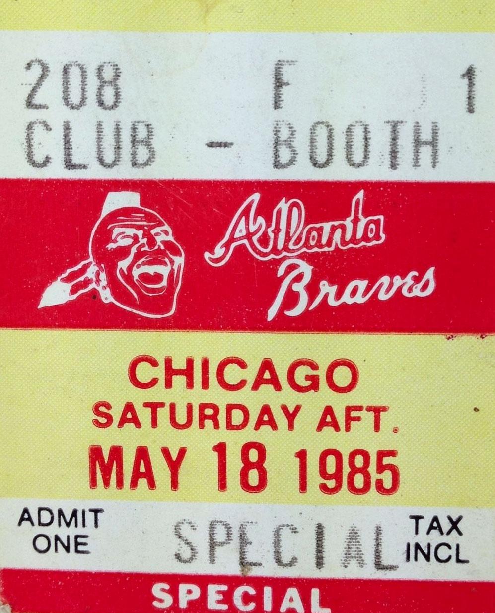 Atlanta Braves Ticket Stub Ticket Stub (1985) -  SportsLogos.Net