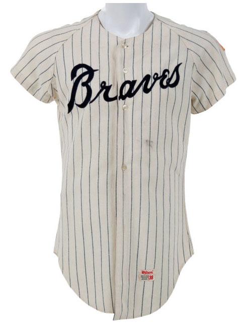 Atlanta Braves Game-Worn Jersey Photo Jersey Photo (1968-1971) - Game-worn Atlanta Braves home jersey, style used from 1968 to 1971 SportsLogos.Net