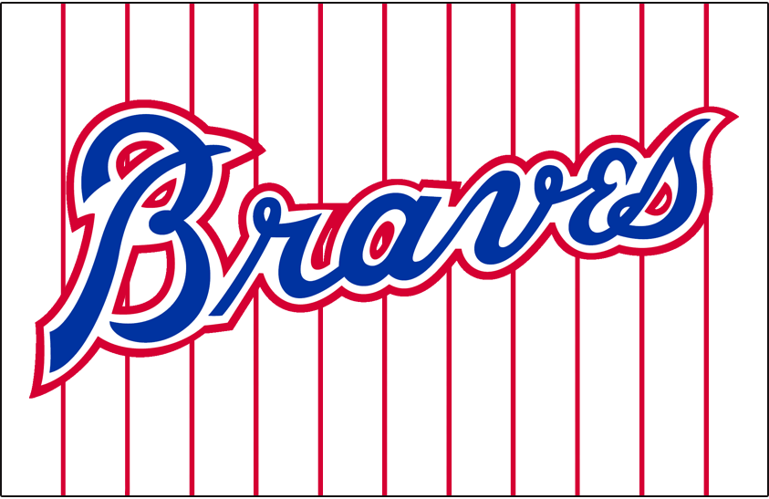 Atlanta Braves Logo Jersey Logo (1976-1979) - Braves in blue and red on a white jersey with red pinstripes. Worn on the Atlanta Braves home jersey from 1976 through 1979 SportsLogos.Net