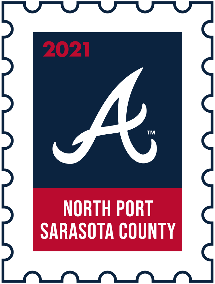 Atlanta Braves Logo Event Logo (2021) - The Atlanta Braves 2021 Spring Training logo, the design follows a league-wide style using a postage stamp in team colours with the team logo in the middle. SportsLogos.Net