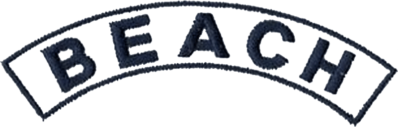 Atlanta Braves Logo Memorial Logo (2008) - Jim Beauchamp Memorial Patch. BEACH in navy blue on a white arch outlined in blue. Worn on the sleeve of all Atlanta Braves uniforms throughout the entire 2008 season in memory of former Braves player and longtime bench coach Jim Beauchamp SportsLogos.Net