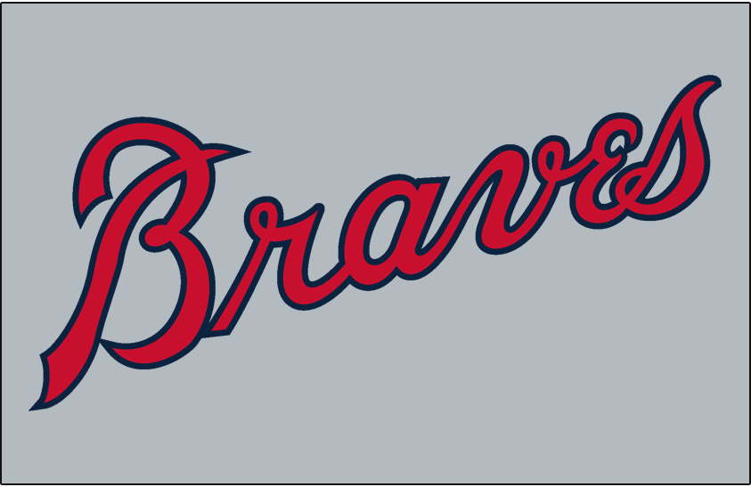 Atlanta Braves Logo Jersey Logo (1966-1967) - Braves in red and blue script on grey, worn on Atlanta Braves road uniform from 1966 to 1967 SportsLogos.Net