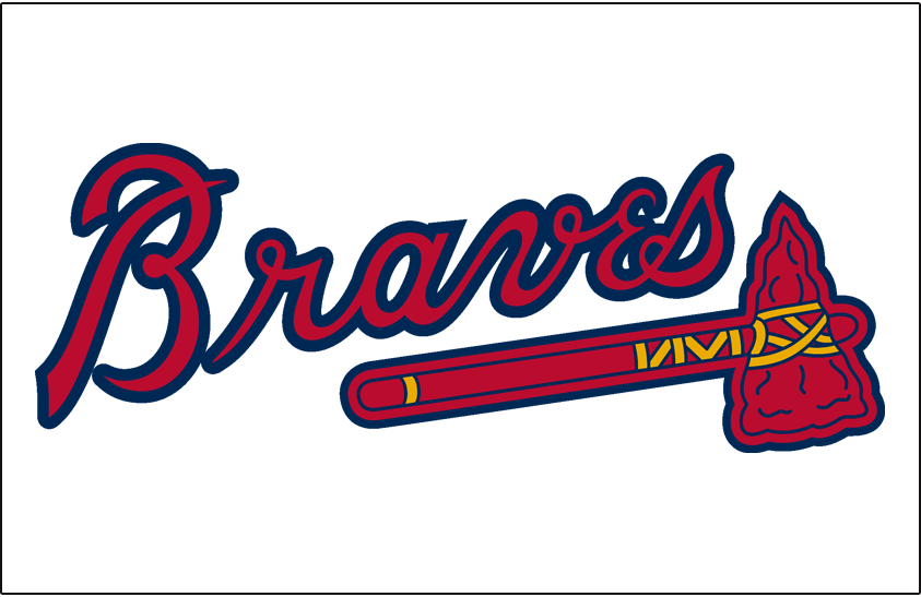 Atlanta Braves Logo Jersey Logo (1987-2017) - 'Braves' in scarlet with a navy outline above a scarlet tomahawk on white, worn on the front of the Atlanta Braves home jersey from 1987 to present day, shade of blue darkened after 2017 season. SportsLogos.Net