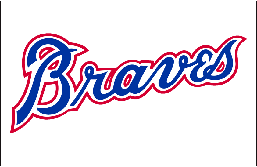 Atlanta Braves Logo Jersey Logo (1980-1986) - 'Braves' in blue with white and red outlines on white, worn on the Atlanta Braves home pullover jersey from 1980 to 1986. SportsLogos.Net