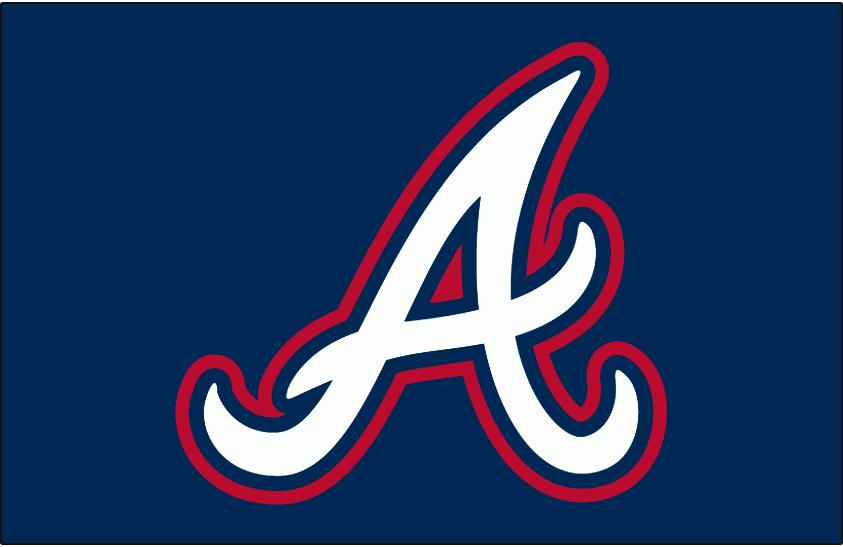 Atlanta Braves Logo Batting Practice Logo (2007-2013) - White A outline in red on blue, worn on the Atlanta Braves batting practice caps from 2007 to 2013. SportsLogos.Net