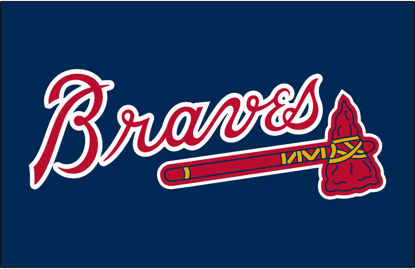 Atlanta Braves Logo Batting Practice Logo (1987-Pres) - 'Braves' in scarlet with a white outline above a scarlet tomahawk on navy, worn on the Atlanta Braves batting practice jersey from 1987 to present day SportsLogos.Net