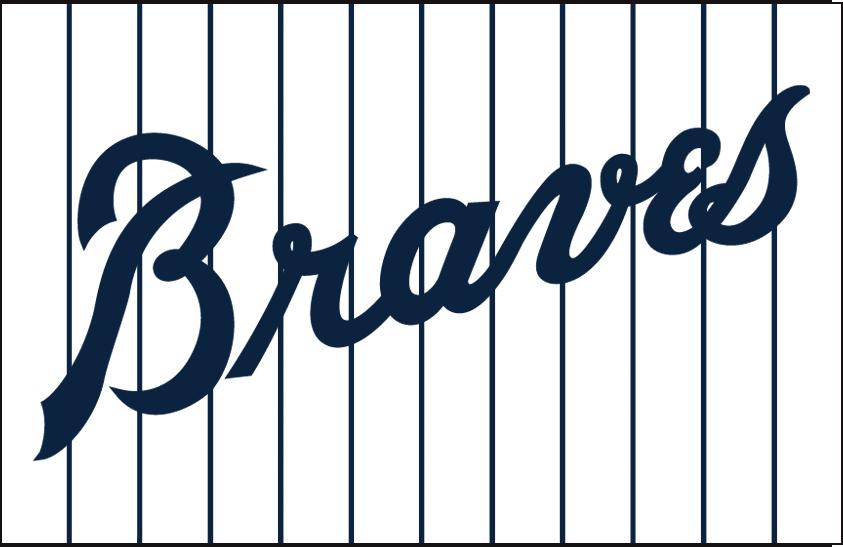 Atlanta Braves Logo Jersey Logo (1968-1971) - 'Braves' in navy blue on a white jersey with blue pinstripes, worn on the Atlanta Braves home jersey from 1968 to 1971 SportsLogos.Net
