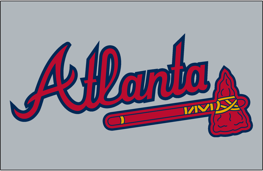 Atlanta Braves Logo Jersey Logo (1987-2017) - 'Atlanta' in scarlet with a navy outline above a scarlet tomahawk on grey, worn on the Atlanta Braves road jersey from 1987 to present day, shade of blue darkened after 2017 season. SportsLogos.Net