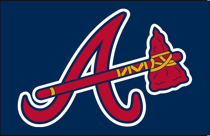 Atlanta Braves Logo Cap Logo (2007-2017) - Red A with tomahawk on blue, worn originally as a batting practice cap from 2003-06, promoted to regular season alternate cap beginning in 2007 SportsLogos.Net