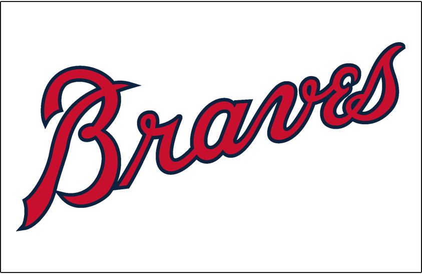 Atlanta Braves Logo Jersey Logo (1966-1967) - 'Braves' in red with a navy blue outline on white, worn on the Atlanta Braves home jersey during their first two seasons after moving from Milwaukee, 1966 to 1967. Also worn during their final years in Milwaukee SportsLogos.Net