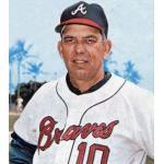 Atlanta Braves (1966) Bobby Bragan wearing the Atlanta Braves home uniform during their 1966 inaugural season