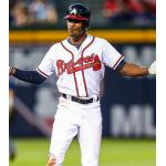 Atlanta Braves (2012) B.J. Upton wearing the Atlanta Braves home uniform during a game in 2012 season