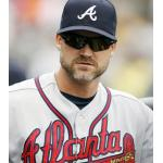 Atlanta Braves (2012) David Ross wearing the Atlanta Braves road uniform during a game in 2012 season