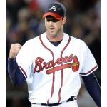 Atlanta Braves (2010) Derek Lowe wearing the Atlanta Braves home white uniform during a 2010 NLDS Game