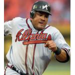 Atlanta Braves (2010) Melky Cabrera wearing the Atlanta Braves road grey uniform during the 2010 season