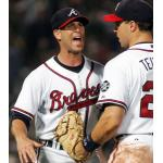 Atlanta Braves (2007) Tim Hudson and Mark Teixeira wearing the Atlanta Braves home white uniform with Lew Burdette, Johnny Sain Memorial Patch during the 2007 season