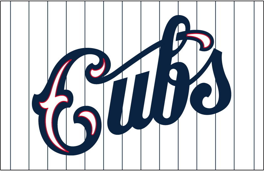 Chicago Cubs Logo Jersey Logo (1931-1933) - Cubs in blue script with red accents on a white jersey with blue pinstripes. Worn on Chicago Cubs home alternate jersey from 1931 to 1933 SportsLogos.Net