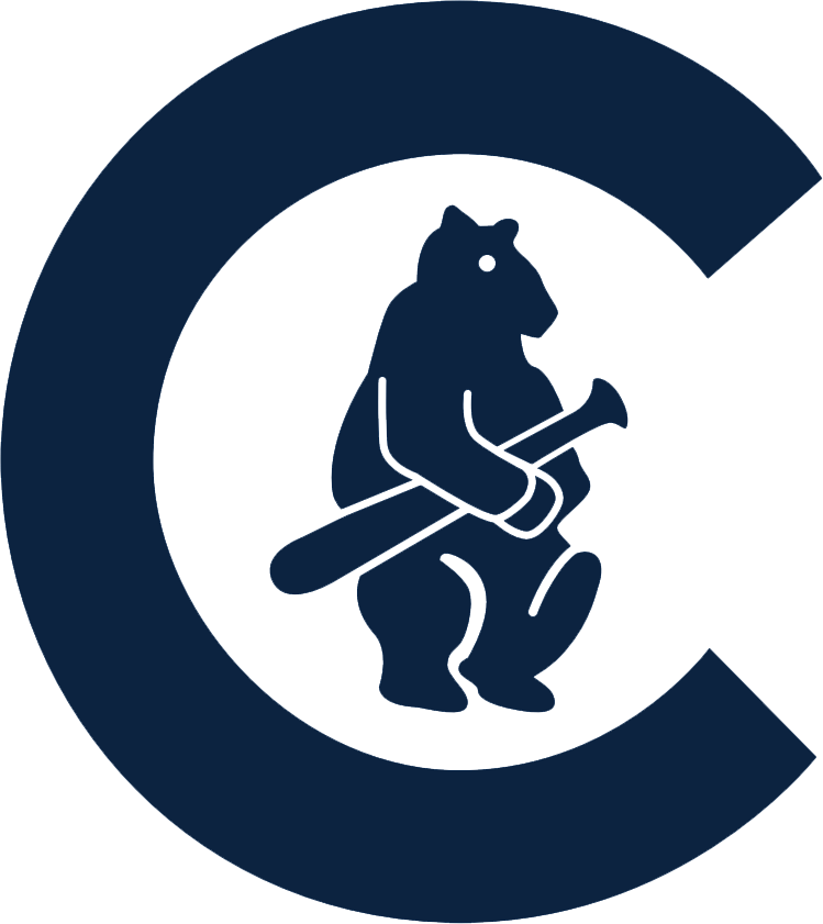 Chicago Cubs Logo Primary Logo (1911-1914) - A navy C with a navy blue bear cub holding a baseball bat inside of it SportsLogos.Net