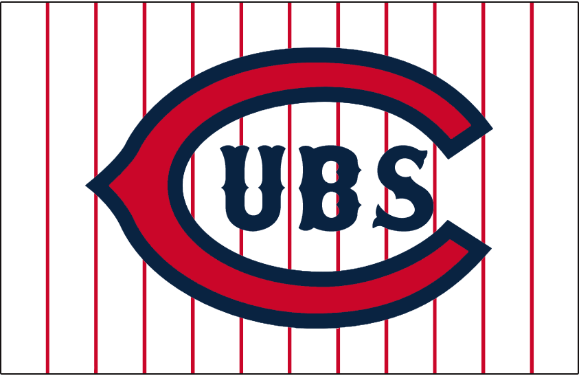 Chicago Cubs Logo Jersey Logo (1930) - Red wishbone C with UBS in Tuscan font inside in blue on a white jersey with red pinstripes. Worn on the Chicago Cubs home alternate jersey during the 1930 season SportsLogos.Net
