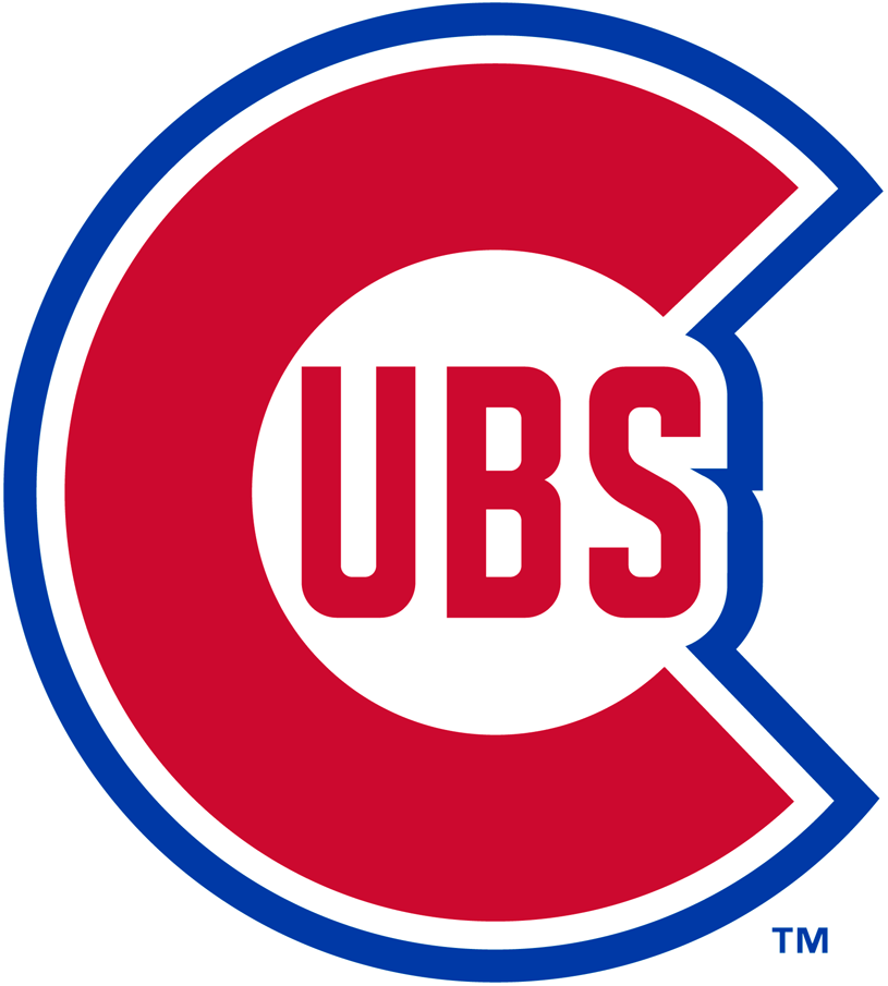 Chicago Cubs Logo Primary Logo (1946-1947) - Large red C with UBS inside in red, entire logo outlined in blue SportsLogos.Net