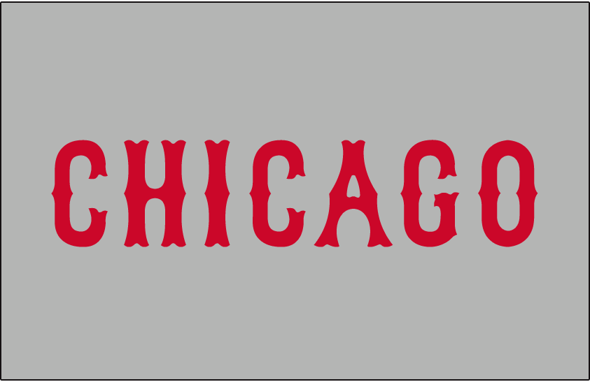 Chicago Cubs Logo Jersey Logo (1935-1936) - Chicago in red on grey, worn on Chicago Cubs road alternate jersey during 1935 and 1936 seasons SportsLogos.Net