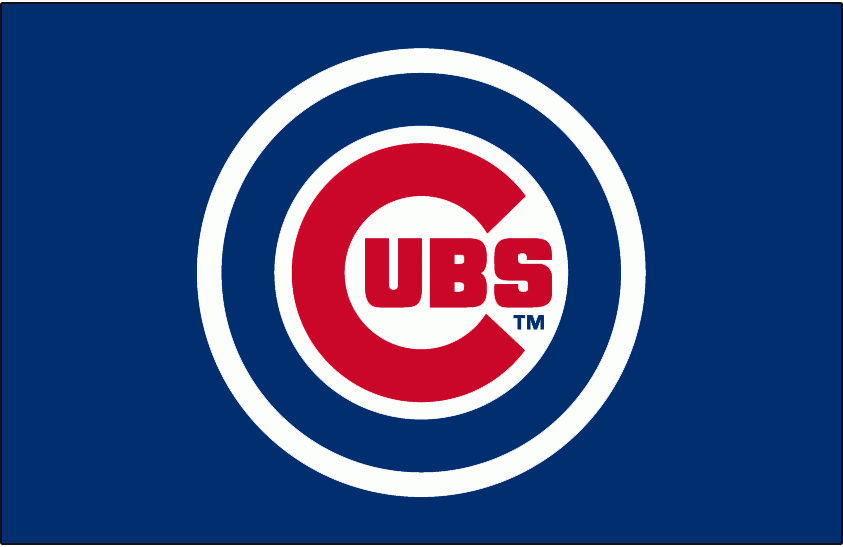 Chicago Cubs Logo Jersey Logo (1982-1989) - Chicago Cubs primary logo with white outline on blue, worn on the front of the Chicago Cubs blue road pullover jerseys from 1982 to 1989 SportsLogos.Net