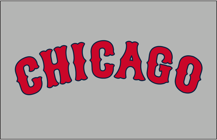 Chicago Cubs Logo Jersey Logo (1927-1936) - CHICAGO arched in red Tuscan font, trimmed in blue, on grey. Worn on the front of the Chicago Cubs road uniforms from 1927-1936 SportsLogos.Net