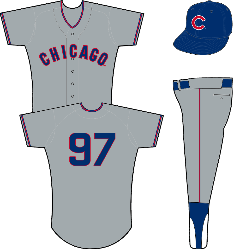 Chicago Cubs Uniform Road Uniform (1958-1961) - CHICAGO arched on chest in blue and red on grey jersey SportsLogos.Net