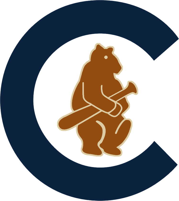 Chicago Cubs Logo Primary Logo (1908-1910) - Navy blue C with a brown and beige bear cub holding a baseball bat inside of it SportsLogos.Net
