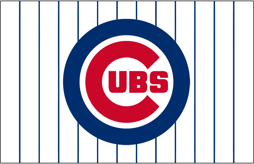 Chicago Cubs Logo Jersey Logo (1979-Pres) - Cubs primary logo on a white jersey with blue pinstripes, worn on the Chicago Cubs home jersey since the 1979 season SportsLogos.Net