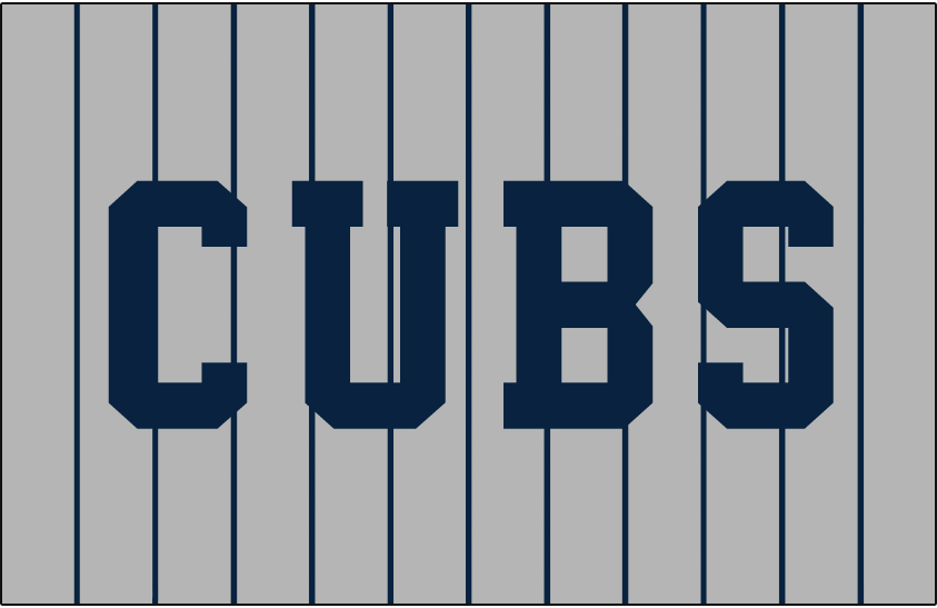 Chicago Cubs Logo Jersey Logo (1922-1923) - CUBS in block navy blue letters on grey with navy blue pinstripes. Worn on Chicago Cubs road alternate jersey in 1922 and 1923 SportsLogos.Net