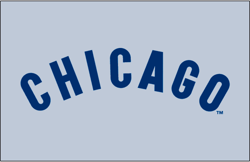 Chicago Cubs Logo Jersey Logo (1972-1975) - Chicago arched in blue on grey, worn on Chicago Cubs road pullover jerseys from 1972 to 1975.  SportsLogos.Net