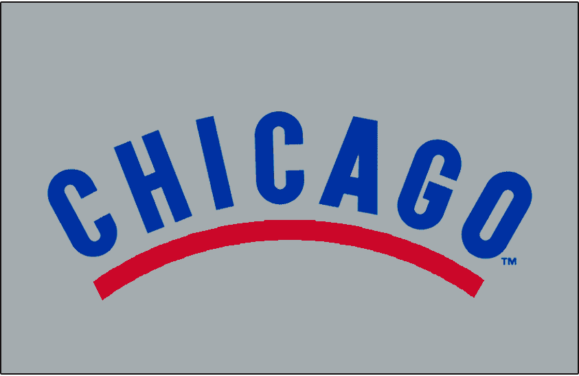 Chicago Cubs Logo Jersey Logo (1943-1956) - Chicago in blue, arched above a red underscore on grey. Worn on Chicago Cubs road jerseys from 1943 to 1956 SportsLogos.Net