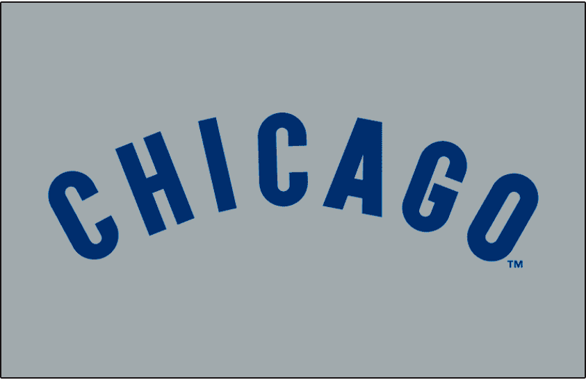 Chicago Cubs Logo Jersey Logo (1969-1971) - Chicago arched in blue on grey, worn on Chicago Cubs road jerseys from 1969 to 1971 SportsLogos.Net