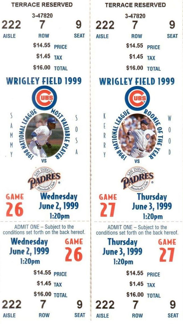 Chicago Cubs Ticket Stub Ticket Stub (1999) -  SportsLogos.Net