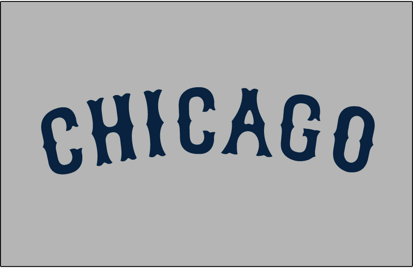 Chicago Cubs Logo Jersey Logo (1926) - Chicago in navy blue Tuscan font arched on grey. Worn on Chicago Cubs road jersey during 1926 season SportsLogos.Net