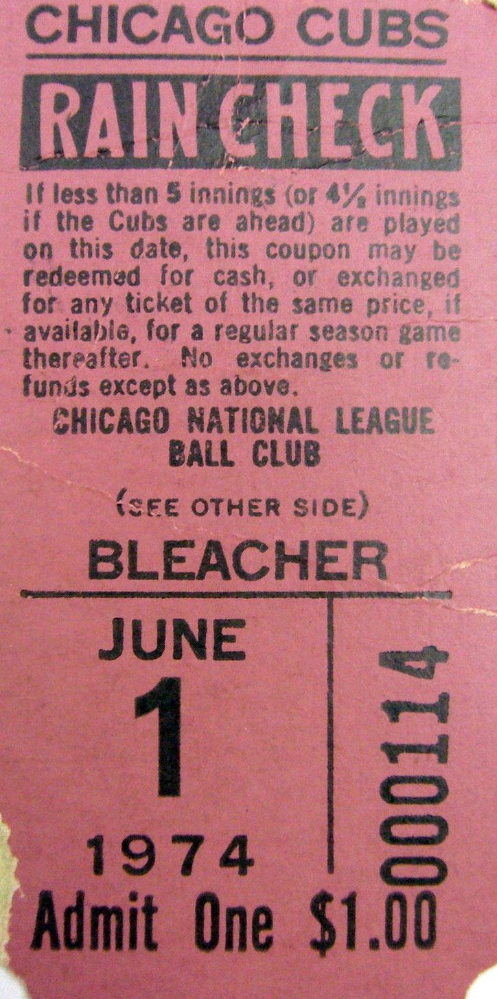 Chicago Cubs Ticket Stub Ticket Stub (1974) -  SportsLogos.Net
