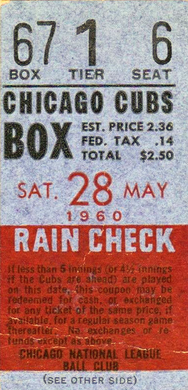 Chicago Cubs Ticket Stub Ticket Stub (1960) -  SportsLogos.Net