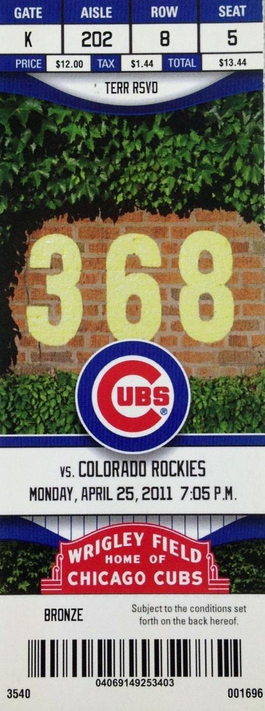 Chicago Cubs Ticket Stub Ticket Stub (2011) -  SportsLogos.Net