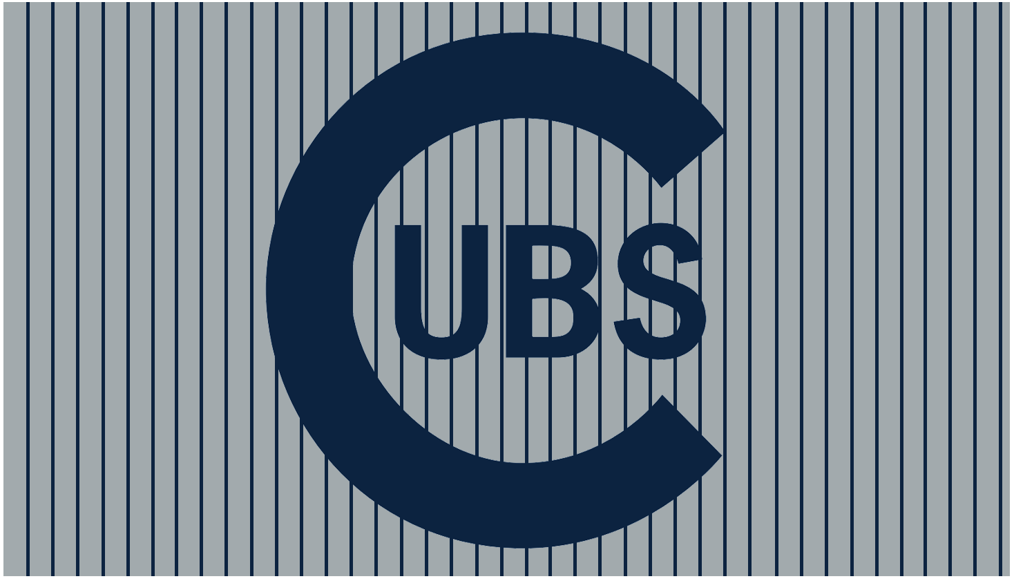 Chicago Cubs Logo Wordmark Logo (1909-1910) - Large navy blue C with UBS written inside of it on a grey background with navy blue pinstripes. Worn on the Chicago Cubs road uniform from 1909-10 SportsLogos.Net