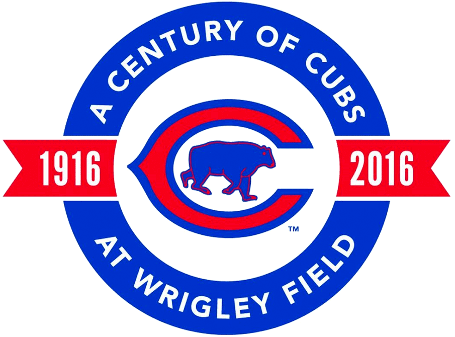 Chicago Cubs Logo Stadium Logo (2016) - Chicago Cubs 100th anniversary at Wrigley Field SportsLogos.Net