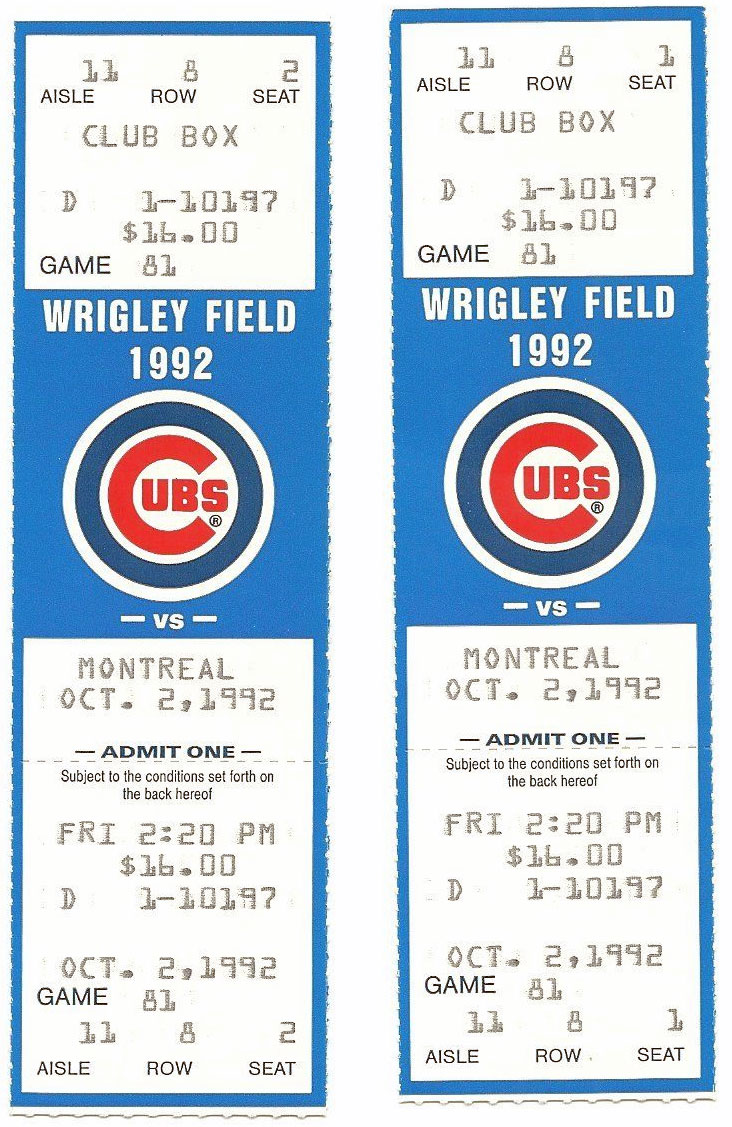Chicago Cubs Ticket Stub Ticket Stub (1992) -  SportsLogos.Net