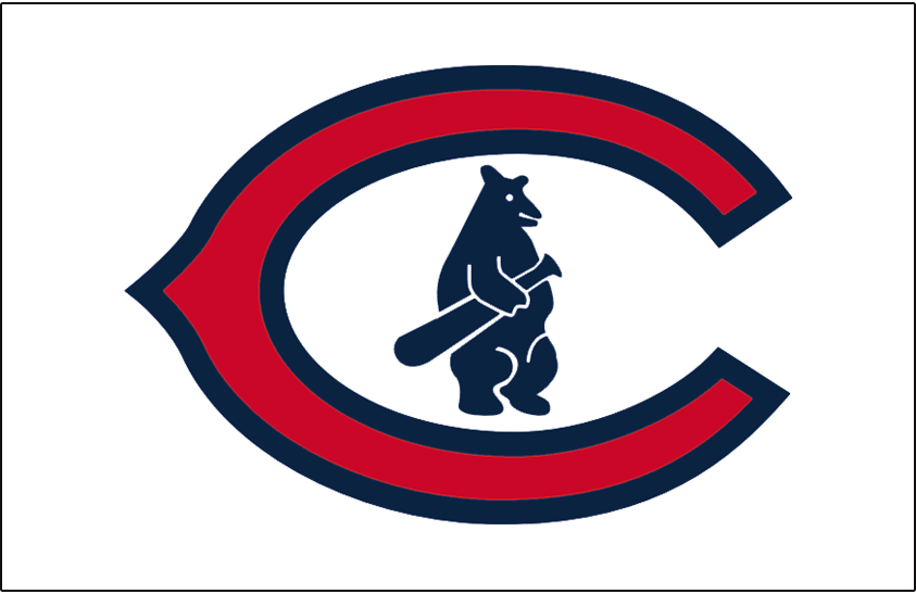 Chicago Cubs Logo Jersey Logo (1927-1936) - Cubs primary logo of the era on a white jersey, worn on Chicago Cubs home jersey from 1927 through 1936 SportsLogos.Net